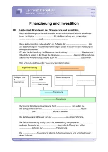 Vorschaugrafik 1 für das  Arbeitsblatt Finanzierung und Investition von Lehrermaterial.de.