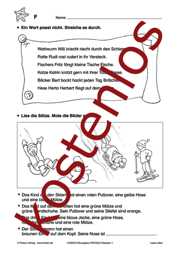 Vorschaugrafik 1 für das kostenlose Arbeitsblatt LOGICO-Box: Lesen üben von Lehrermaterial.de.