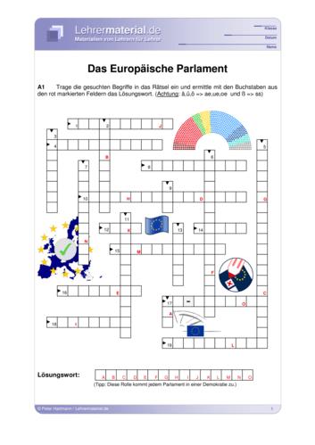 Vorschaugrafik 1 für das  Arbeitsblatt Das Europäische Parlament von Lehrermaterial.de.