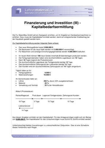 Vorschaugrafik 1 für das  Arbeitsblatt Finanzierung und Investition (III) von Lehrermaterial.de.