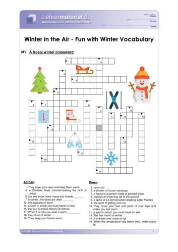 Vorschaugrafik 1 für das  Arbeitsblatt Winter in the Air – Fun with winter vocabulary von Lehrermaterial.de.