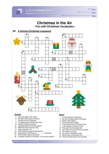 Vorschaugrafik 1 für das  Arbeitsblatt Christmas in the Air – Fun with Christmas vocabulary von Lehrermaterial.de.