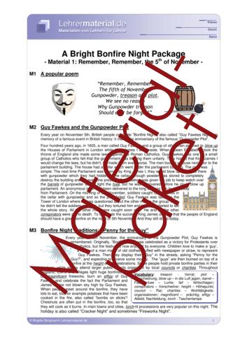Vorschaugrafik 1 für das  Arbeitsblatt A Bright Bonfire Night Package von Lehrermaterial.de.