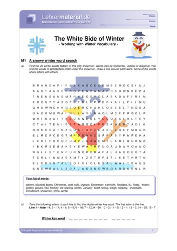 Vorschaugrafik 1 für das  Arbeitsblatt The White Side of Winter – Working with Winter Vocabulary von Lehrermaterial.de.