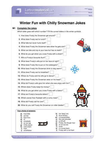 Vorschaugrafik 1 für das  Arbeitsblatt Winter Fun with Chilly Snowman Jokes von Lehrermaterial.de.