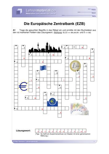 Vorschaugrafik 1 für das  Arbeitsblatt Die Europäische Zentralbank (EZB) von Lehrermaterial.de.