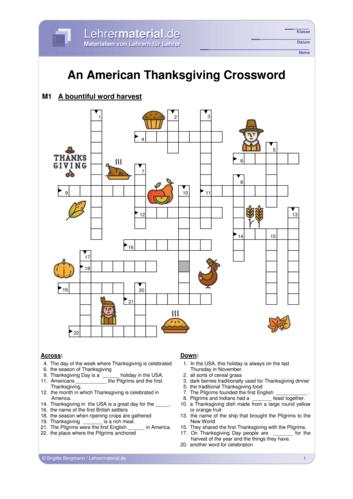 Vorschaugrafik 1 für das  Arbeitsblatt An American Thanksgiving Crossword von Lehrermaterial.de.