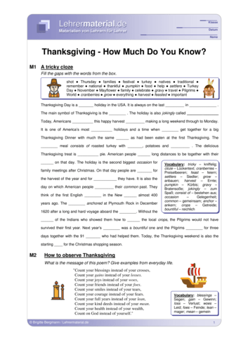 Vorschaugrafik 1 für das  Arbeitsblatt Thanksgiving - How Much Do You Know?  von Lehrermaterial.de.