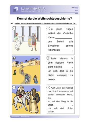 Vorschaugrafik 1 für das  Arbeitsblatt Kennst du die Weihnachtsgeschichte? von Lehrermaterial.de.
