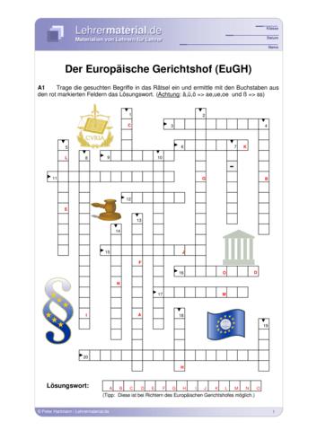 Vorschaugrafik 1 für das  Arbeitsblatt Der Europäische Gerichtshof (EuGH) von Lehrermaterial.de.