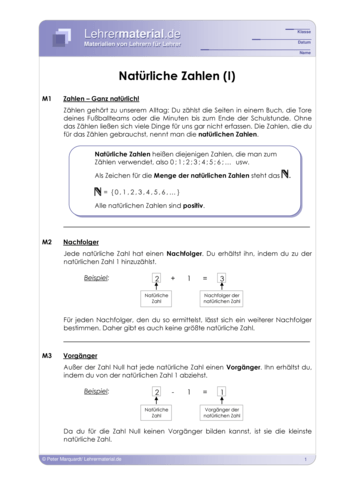Vorschaugrafik 1 für das  Arbeitsblatt Natürliche Zahlen (I) von Lehrermaterial.de.
