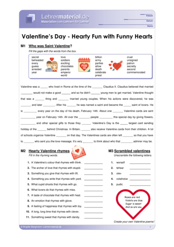 Vorschaugrafik 1 für das  Arbeitsblatt Valentine's Day - Hearty Fun with Funny Hearts von Lehrermaterial.de.