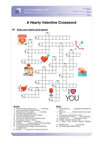 Vorschaugrafik 1 für das  Arbeitsblatt A Hearty Valentine Crossword von Lehrermaterial.de.