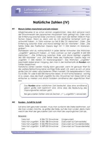 Vorschaugrafik 1 für das  Arbeitsblatt Natürliche Zahlen (IV) von Lehrermaterial.de.