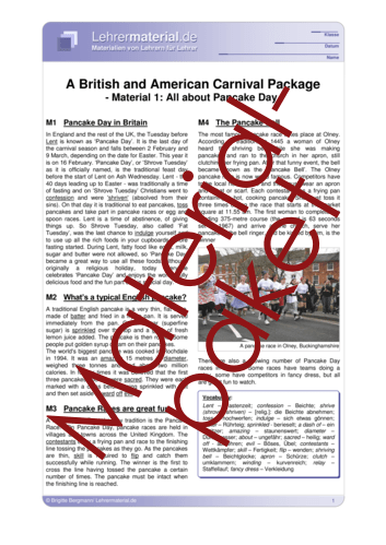 Vorschaugrafik 1 für das  Arbeitsblatt A British and American Carnival Package von Lehrermaterial.de.