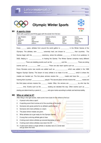 Vorschaugrafik 1 für das  Arbeitsblatt Olympic Winter Sports von Lehrermaterial.de.
