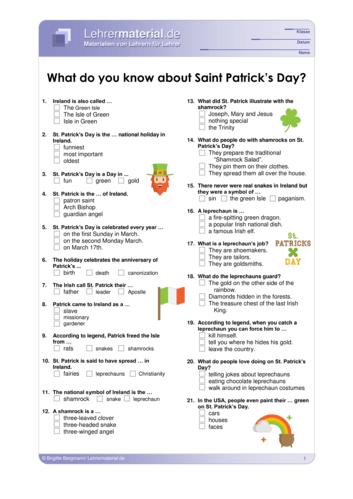 Vorschaugrafik 1 für das  Arbeitsblatt What do you know about Saint Patrick's Day? von Lehrermaterial.de.