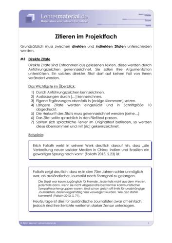 Vorschaugrafik 1 für das  Arbeitsblatt Zitieren im Projektfach von Lehrermaterial.de.