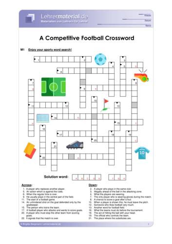 Vorschaugrafik 1 für das  Arbeitsblatt A Competitive Football Crossword von Lehrermaterial.de.