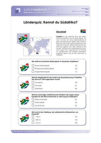 Vorschaugrafik 1 für das  Arbeitsblatt Länderquiz: Kennst du Südafrika? von Lehrermaterial.de.