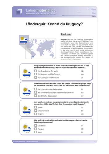Vorschaugrafik 1 für das  Arbeitsblatt Länderquiz: Kennst du Uruguay? von Lehrermaterial.de.