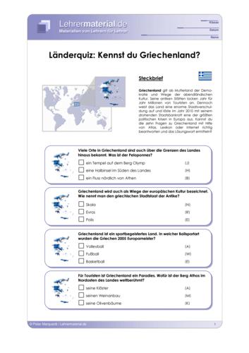 Vorschaugrafik 1 für das  Arbeitsblatt Länderquiz: Kennst du Griechenland? von Lehrermaterial.de.