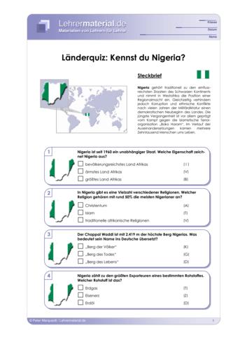 Vorschaugrafik 1 für das  Arbeitsblatt Länderquiz: Kennst du Nigeria? von Lehrermaterial.de.