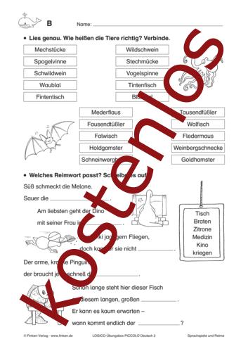 Vorschaugrafik 1 für das kostenlose Arbeitsblatt LOGICO-Box: Sprachspiele und Reime von Lehrermaterial.de.
