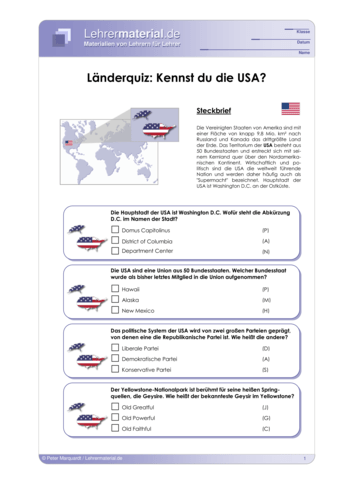 Vorschaugrafik 1 für das  Arbeitsblatt Länderquiz: Kennst du die USA? von Lehrermaterial.de.