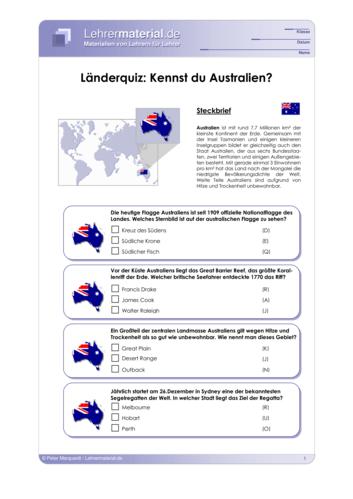 Vorschaugrafik 1 für das  Arbeitsblatt Länderquiz: Kennst du Australien? von Lehrermaterial.de.