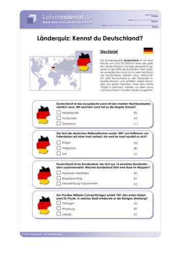 Vorschaugrafik 1 für das  Arbeitsblatt Länderquiz: Kennst du Deutschland? von Lehrermaterial.de.