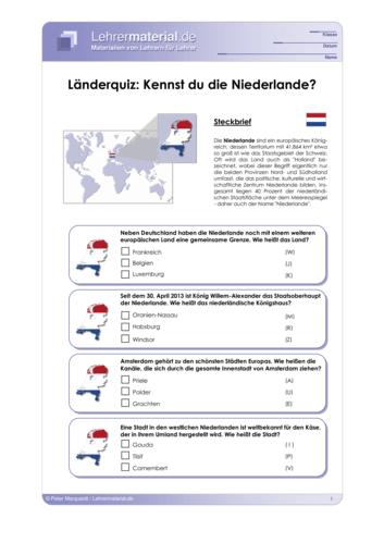 Vorschaugrafik 1 für das  Arbeitsblatt Länderquiz: Kennst du die Niederlande? von Lehrermaterial.de.
