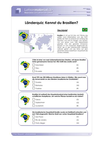 Vorschaugrafik 1 für das  Arbeitsblatt Länderquiz: Kennst du Brasilien? von Lehrermaterial.de.