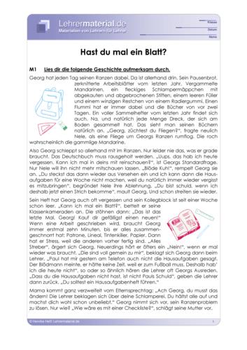 Vorschaugrafik für das  Arbeitsblatt Hast du mal ein Blatt? von Lehrermaterial.de