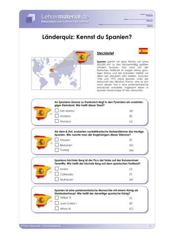 Vorschaugrafik 1 für das  Arbeitsblatt Länderquiz: Kennst du Spanien? von Lehrermaterial.de.