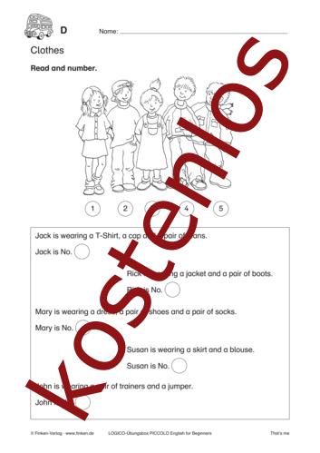 Vorschaugrafik 1 für das kostenlose Arbeitsblatt LOGICO-Box: Clothes von Lehrermaterial.de.