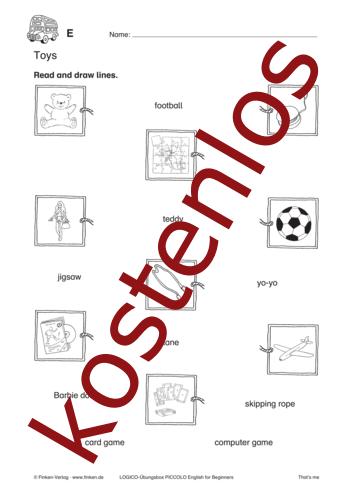Vorschaugrafik 1 für das kostenlose Arbeitsblatt LOGICO-Box: Toys von Lehrermaterial.de.