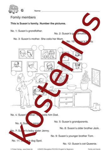 Vorschaugrafik 1 für das kostenlose Arbeitsblatt LOGICO-Box: Family members von Lehrermaterial.de.