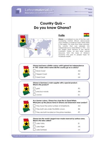 Vorschaugrafik 1 für das  Arbeitsblatt Country Quiz: Do you know Ghana? von Lehrermaterial.de.