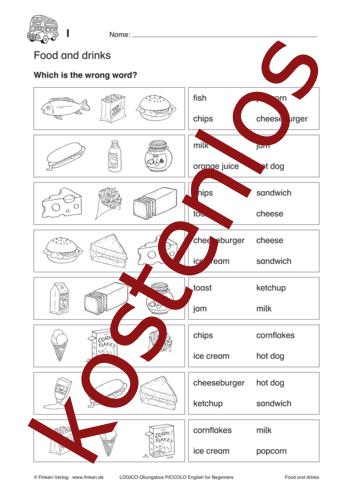 Vorschaugrafik 1 für das kostenlose Arbeitsblatt LOGICO-Box: Food and drinks von Lehrermaterial.de.