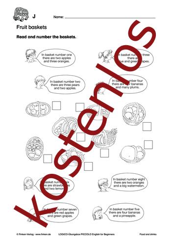 Vorschaugrafik 1 für das kostenlose Arbeitsblatt LOGICO-Box: Fruit baskets von Lehrermaterial.de.