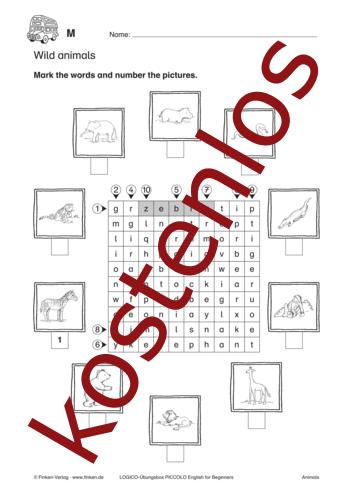 Vorschaugrafik 1 für das kostenlose Arbeitsblatt LOGICO-Box: Wild animals von Lehrermaterial.de.