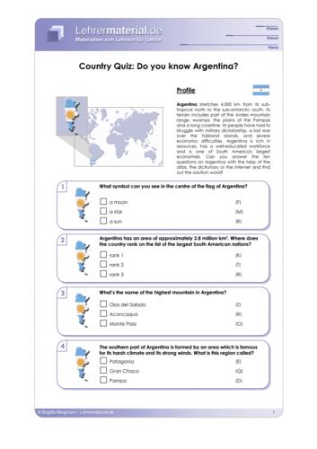 Vorschaugrafik 1 für das  Arbeitsblatt Country Quiz: Do you know Argentina? von Lehrermaterial.de.