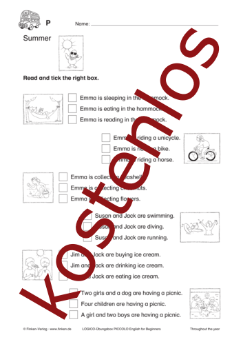 Vorschaugrafik 1 für das kostenlose Arbeitsblatt LOGICO-Box: Summer von Lehrermaterial.de.