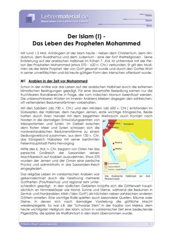 arbeitsblatt der islam i das leben des propheten mohammed. Black Bedroom Furniture Sets. Home Design Ideas