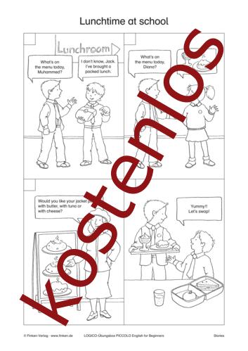 Vorschaugrafik 1 für das kostenlose Arbeitsblatt LOGICO-Box: Lunchtime at school von Lehrermaterial.de.