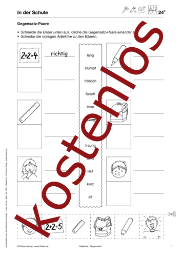 Vorschaugrafik für das kostenlose Arbeitsblatt Gegensatz-Paare von Lehrermaterial.de