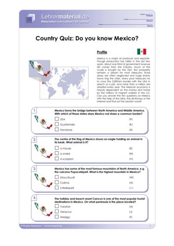 Vorschaugrafik 1 für das  Arbeitsblatt Country Quiz: Do you know Mexico? von Lehrermaterial.de.