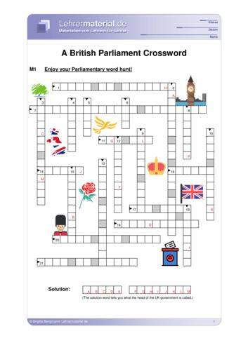 Vorschaugrafik 1 für das  Arbeitsblatt A British Parliament Crossword  von Lehrermaterial.de.