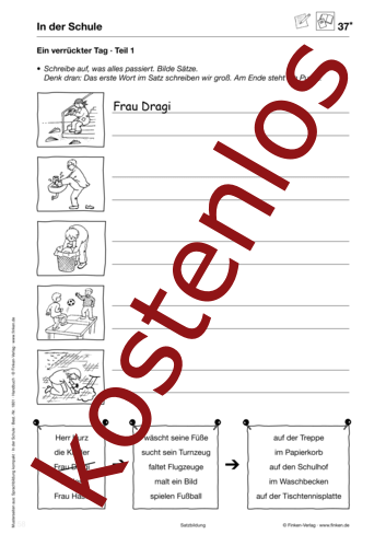Vorschaugrafik 1 für das kostenlose Arbeitsblatt Ein verrückter Tag von Lehrermaterial.de.